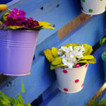 Color tins filled with flowers hanging on a blue pallet.